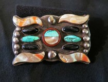 Title: Buckle; vintage Navajo buckle w/ abalone Bi-Curvates , Size: 2 3/8 x 3 5/8 inches , Medium: Sterling Silver/Turquoise , Edition: Vintage