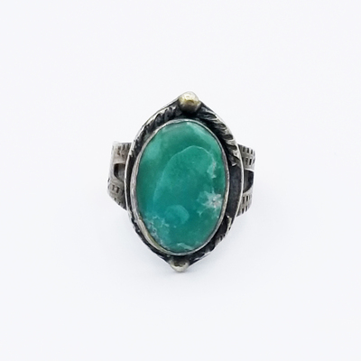 Title: Ring: Dark Green Oval Turquoise Stone With Stamping , Size: 5 1/4 , Medium: Sterling Silver , Edition: Vintage