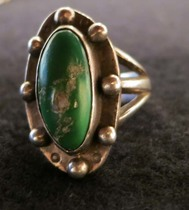 Title: Ring: Oval Stone With Silver Balls , Size: 6 3/4 (1 H x 5/8 W inches) , Medium: Sterling Silver , Edition: Vintage