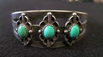 Title: Bracelet: 3 Stone Stamped , Size: Width: 7/8 inch , Medium: Sterling Silver , Edition: Vintage