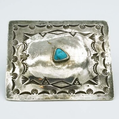 Title: Buckle: Triangular Stone with Stamping , Size: 2 3/8 x 2 7/8 inches , Medium: Sterling Silver , Edition: Vintage