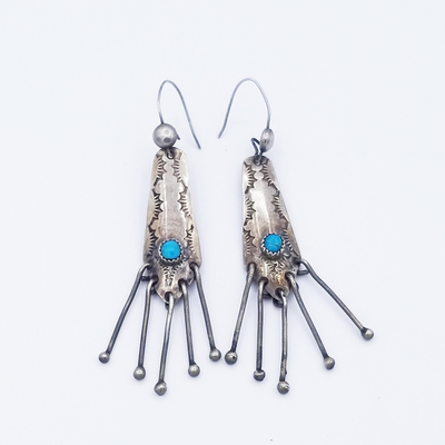 Title: Earrings: Sterling w/ Stamping, Turq and 5 Dangles , Date: c. 1960 , Size: 2 3/4 L x 1/2
