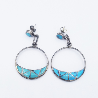 Title: Earrings Hoops with Triangular Turquoise Stones , Size: 2 1/8 x 1 1/8 inches , Medium: Sterling Silver , Edition: Vintage