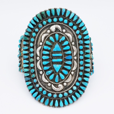 Title: Bracelet Stunning Zuni Cuff , Size: 3 1/2 x 2 1/2 inches , Medium: Sterling Silver , Edition: Vintage