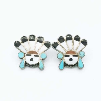 Title: Buttons (Pair) Zuni with Kachina Motif , Size: 3/4 x 3/4 inches , Medium: Sterling Silver , Edition: Vintage