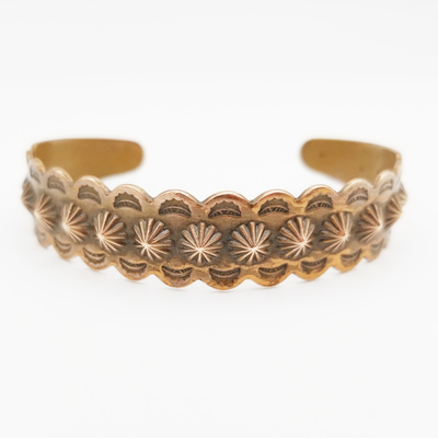 Title: Bracelet: Fred Harvey Stamped Copper Cuff , Size: Width: 1/2 inch , Medium: Copper , Edition: Vintage