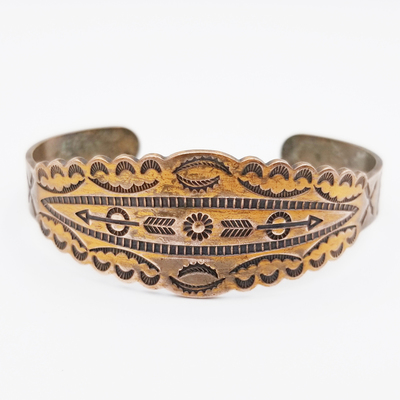 Title: Bracelet: Fred Harvey Stamped Copper with Arrows , Size: Width: 7/8 inch , Medium: Copper , Edition: Vintage