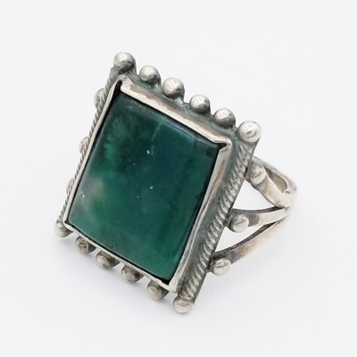 Title: Ring: Square Stone Surrounded by Silver Balls , Size: 7 , Medium: Sterling Silver , Edition: Vintage
