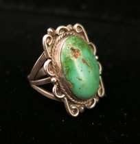 Title: Ring: Unique Silver Designs with Fine Turquoise Stone , Size: 6 1/2 , Medium: Sterling Silver , Edition: Vintage