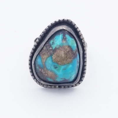 Title: Ring: Navajo with Chunky Turquoise Stone , Size: 11 , Medium: Sterling Silver , Edition: Vintage