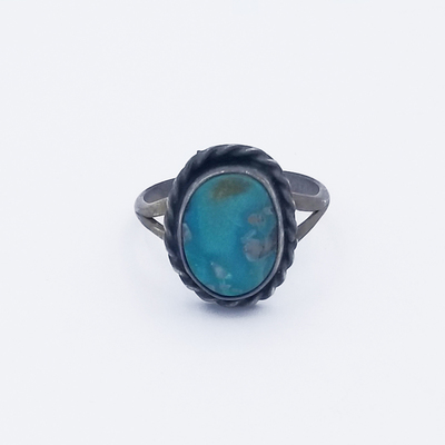 Title: Ring: Simple Elegant Navajo Single Stone , Size: 5 1/4 , Medium: Sterling Silver , Edition: Vintage