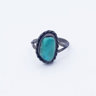 Title: Ring: Simple Single Stone Navajo , Size: 4 , Medium: Sterling Silver , Edition: Vintage