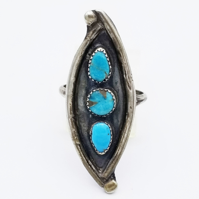 Title: Ring: Small Navajo Turquoise , Size: 3 , Medium: Sterling Silver , Edition: Vintage