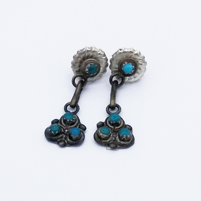 Title: Earrings: Petite Zuni with 4 Turquoise Stones , Date: 1950 , Size: 1 1/8 x 3/8 inches , Medium: Sterling Silver , Edition: Vintage
