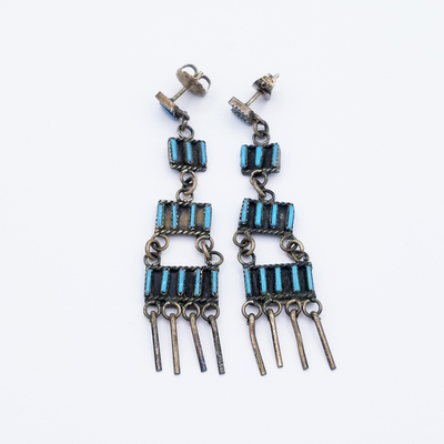 Title: Earrings: Zuni Needlepoint Dangles , Size: 2 1/8 x 1/2 inches , Medium: Sterling Silver , Edition: Vintage