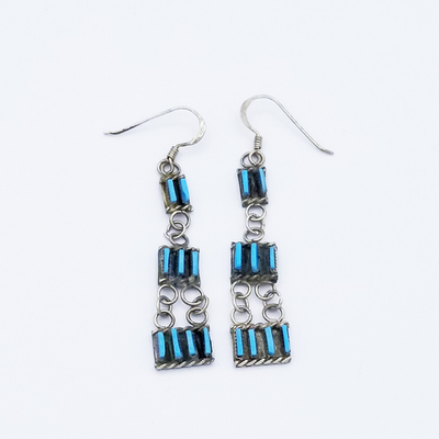 Title: Earrings: Delicate Zuni Chandelier , Size: 1 1/2 x 3/8 inches , Medium: Sterling Silver , Edition: Vintage