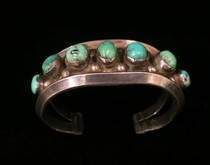 Title: Bracelet: 7 Stone Vintage Navajo Cuff , Size: Width: 1 1/4 inches , Medium: Sterling Silver , Edition: Vintage