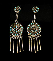 Title: Earrings: Small Zuni Silver and Turquoise Clusters with Circle Motif , Size: 2 1/2 x 3/4 inches , Medium: Sterling Silver , Edition: Vintage