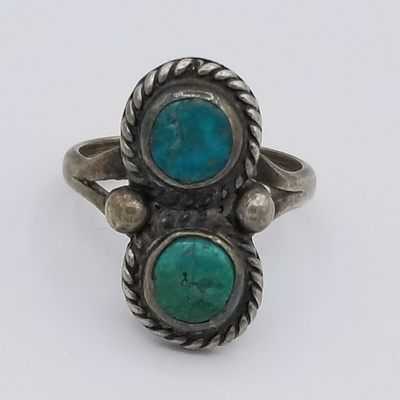 Title: Ring: Vintage 2 Stone Navajo , Date: c.1960 , Size: 7 x 3.5 inches , Medium: Sterling Silver , Edition: Vintage