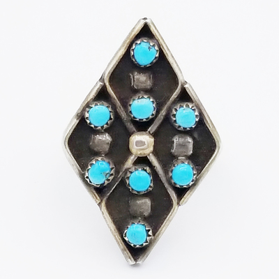 Title: Ring: Zuni Diamond Shaped with 8 Turquoise Stones , Size: 4 1/2 , Medium: Sterling Silver , Edition: Vintage