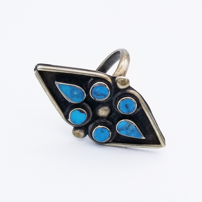 Title: Ring: Diamond Shaped Zuni with 6 Stones , Size: 4 3/4 , Medium: Sterling Silver , Edition: Vintage