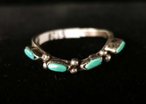 Title: Ring: Zuni 4 Small Oval Stones , Size: 5 , Medium: Sterling Silver , Edition: Vintage