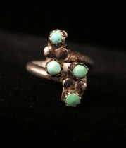 Title: Ring: Zuni 4 Stone Ladder , Size: 4 1/4 , Medium: Sterling Silver , Edition: Vintage