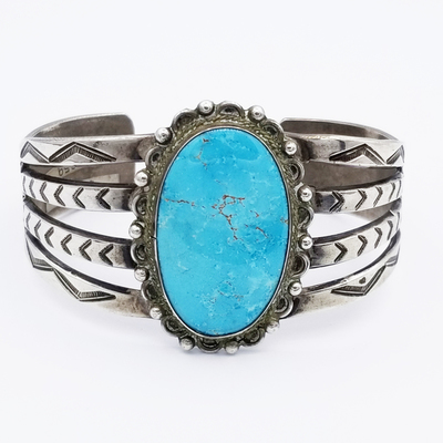 Title: Bracelet: Beautiful Navajo Single Stone Cuff , Size: 1 3/4 inch wide , Medium: Sterling Silver , Edition: Vintage
