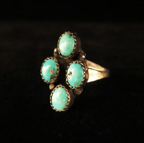 Title: Ring: Zuni 4 Turquoise Stones , Size: 9 , Medium: Sterling Silver , Edition: Vintage