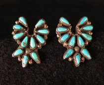 Title: Earrings: Zuni Turqouise and Silver , Size: 1 7/8 x 5/8 inches , Medium: Sterling Silver , Edition: Vintage