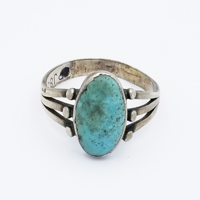 Title: Ring: Navajo with Beautiful Turquoise Stone , Size: 9 1/2 , Medium: Sterling Silver , Edition: Vintage
