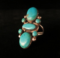 Title: Ring: Large 7 Turquoise Stones , Size: 7 1/2 , Medium: Sterling Silver , Edition: Vintage