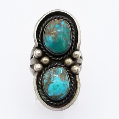 Title: Ring: Navajo 2 Large Stones with Ribboned Silver , Size: 5 , Medium: Sterling Silver , Edition: Vintage