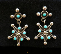 Title: Earrings: Turquoise Stars , Size: 1 5/8 x 1 inches , Medium: Sterling Silver , Edition: Vintage
