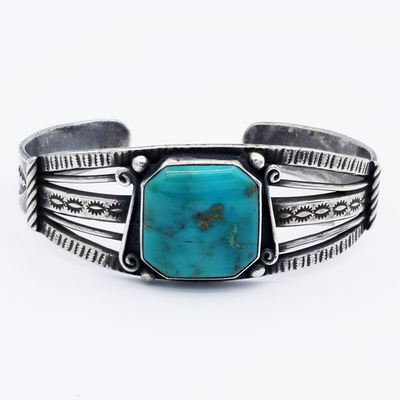 Title: Bracelet: Navajo Single Stone Beautifully Cut , Date: c.1930-40 , Size: 1 inch wide , Medium: Sterling Silver , Edition: Vintage