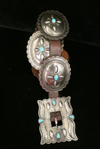 Title: Belt: Vintage Roger Skeet Silver and Turquoise Navajo Concho , Date: 1950 , Size: 30 - 37 inch waist , Medium: Sterling Silver , Edition: Vintage