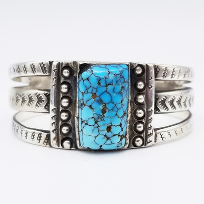 Title: Bracelet: Navajo with Pillow Spider Turquoise , Medium: Silver with spider turquoise , Edition: Vintage