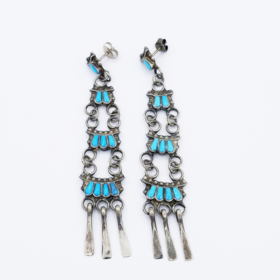 Title: Earrings: 4 Teir Beautiful Design with Dangles , Size: 3 3/14 x 1/2 inches , Medium: Sterling Silver , Edition: Vintage