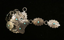 Title: Belt: Linked Small Sterling Conchos with Turquoise Stones , Size: 33 inches , Medium: Sterling Silver , Edition: Vintage