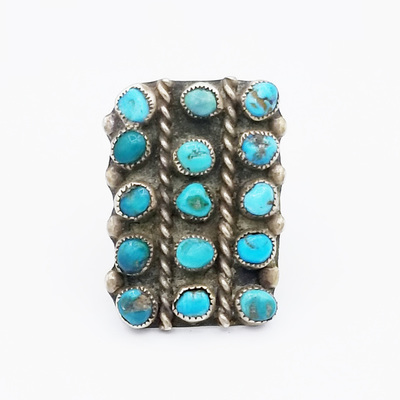 Title: Ring: Navajo 15 Stone Row with Ribboned Silver , Size: 5 1/2 , Medium: Sterling Silver , Edition: Vintage