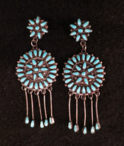 Title: Earrings: Zuni Cluster Round with Turquoise Dangles , Size: 2 3/4 x 1 inches , Medium: Sterling Silver , Edition: Vintage