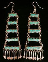 Title: Earrings: Dishta 5 Tier Chandelier , Size: 4 x 1 3/8 inches , Medium: Sterling Silver , Edition: Vintage