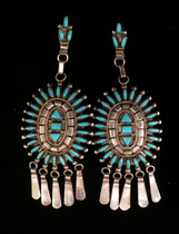 Title: Earrings: Auni Large Oval Clusters , Size: 3 3/4 x 1 1/2 inches , Medium: Sterling Silver , Edition: Vintage