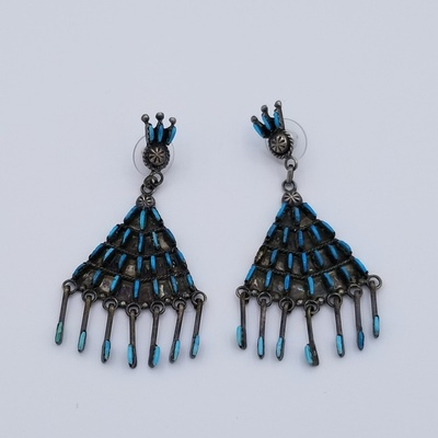 Title: Earrings: Zuni Fan Shaped Silver and Turquoise with Dangles , Size: 3 x 1 3/8 inches , Medium: Sterling Silver , Edition: Vintage
