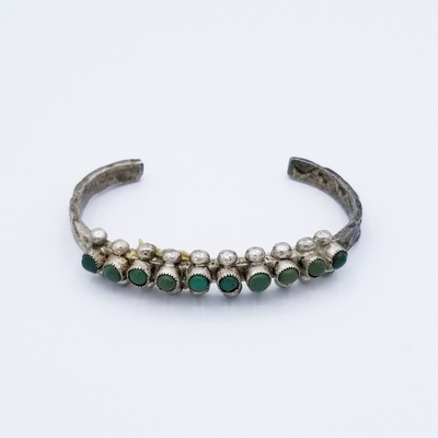 Title: Bracelet: Zuni Single Turquoise Row , Size: 1/4 inch wide , Medium: Sterling Silver , Edition: Vintage