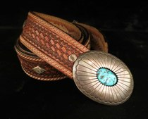 Title: Belt: Navajo Sterling and Turquoise Concho Buckle , Size: Buckle: 2 7/8 x 2 3/16 , Medium: Sterling Silver , Signed: Signed