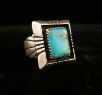 Title: Ring: Navajo with Large Rectangular Stone , Size: 10 1/2 , Medium: Sterling Silver