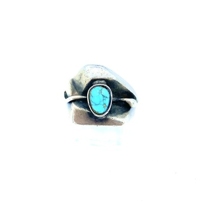 Title: Ring: Navajo Sterling Silver with Elegant Turquoise Nugget , Size: 8 , Medium: Sterling Silver , Edition: Vintage