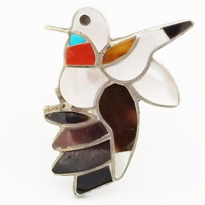 Title: Ring: Zuni Inlay Hummingbird with Mother of Pearl, Black Onyx, Coral and Turquoise , Size: 5.5 , Medium: Sterling Silver , Edition: Vintage