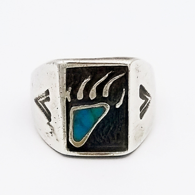 Title: Ring: Navajo Turquoise Bear Claw , Size: 9 1/4 , Medium: Sterling Silver , Edition: Vintage